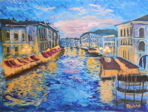 The evening at Grand canal in Venice