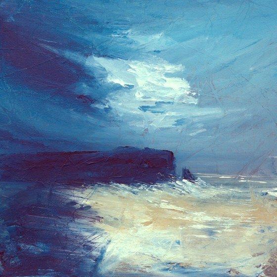 Headland, blue and white British coastal seascape landscape