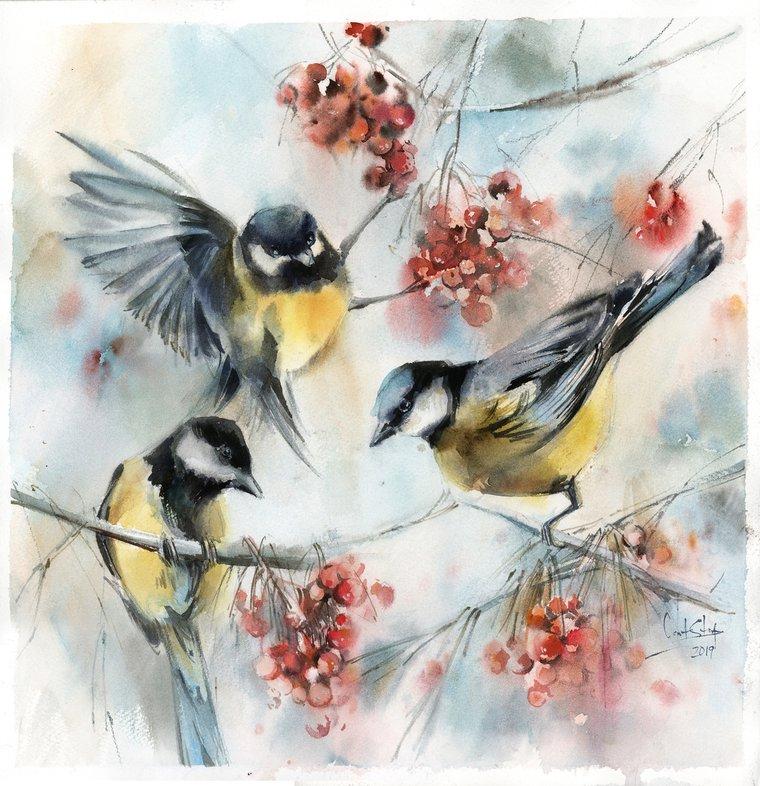 Tit Bird Watercolor Painting Print Art Prints set of Birds Bullfinch Bird Home Decor Wall Art Gallery Wall set of 2 Birds Art Print