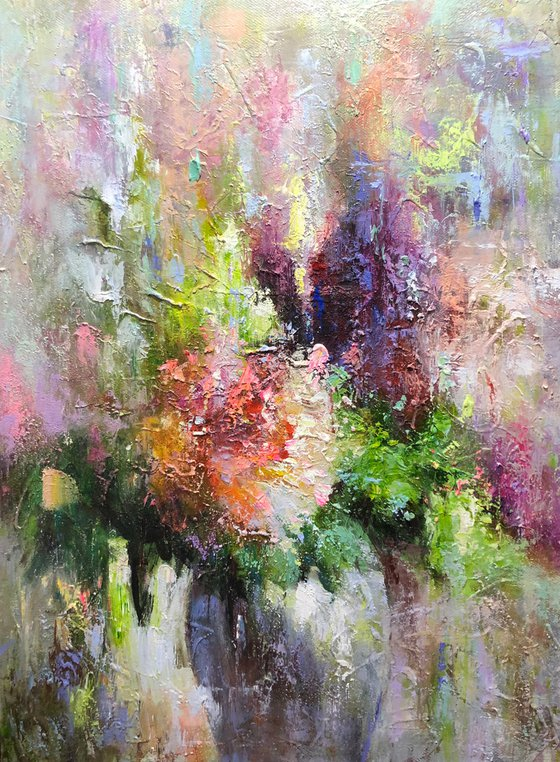 """""""Flowers"""" size 75x100cm.  Canvas, oil.  Free shipping"""
