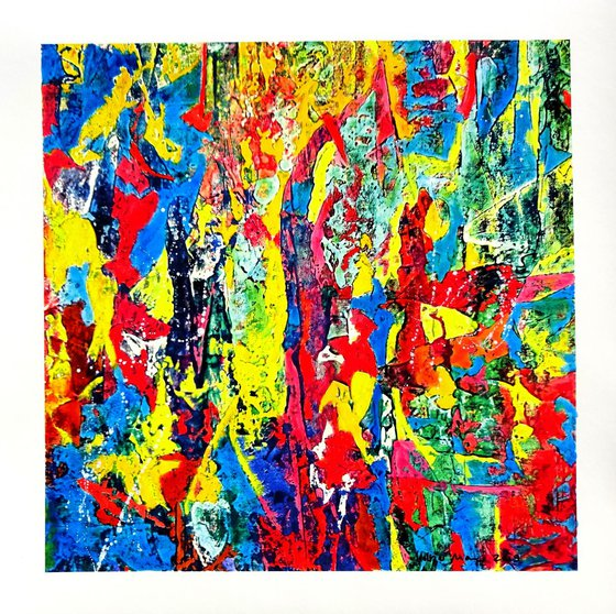 Celebration Of Colours - Series A No. 4 - original oil painting on paper