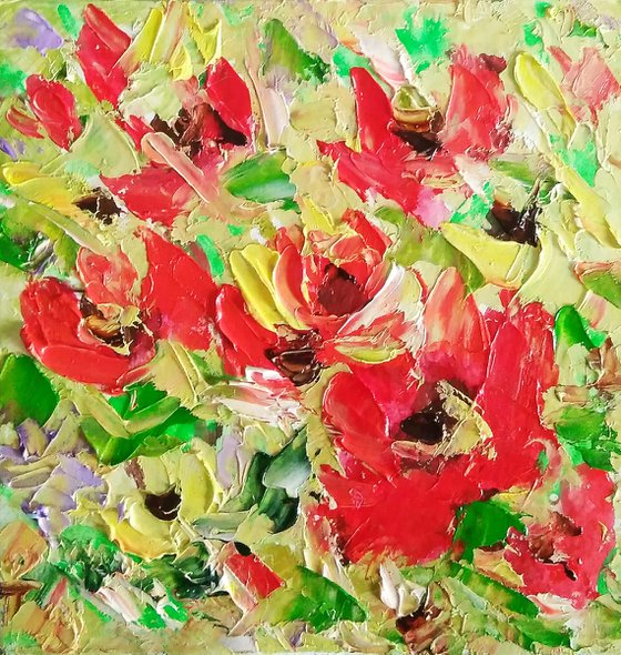 Abstract Floral Painting Small Original Art Flower Artwork Meadow Wall Art