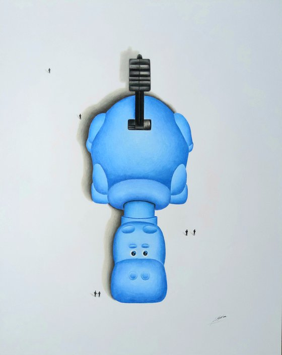 Hippo a pencil drawing (Blue)