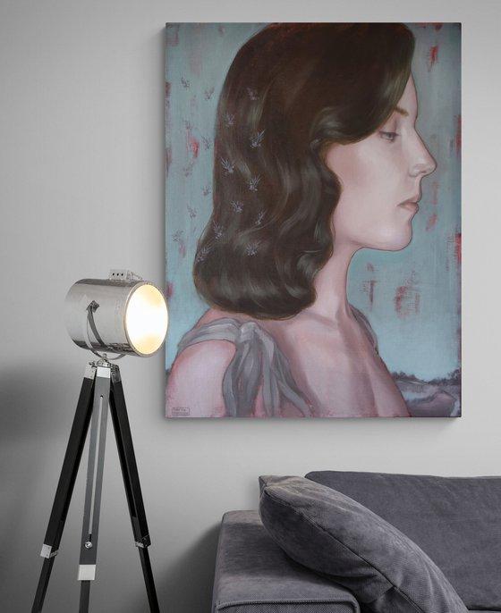 COLD BLUE- large woman vintage style realistic portrait interior oil painting