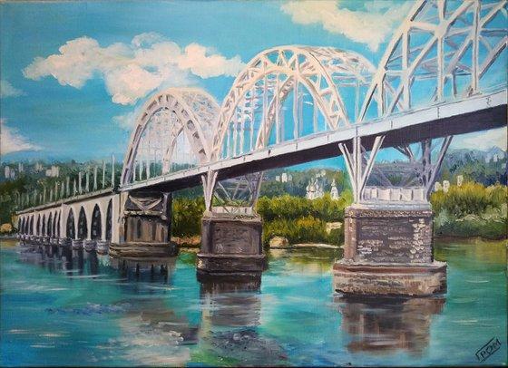 Railway Bridge in Kyiv City Ukraine