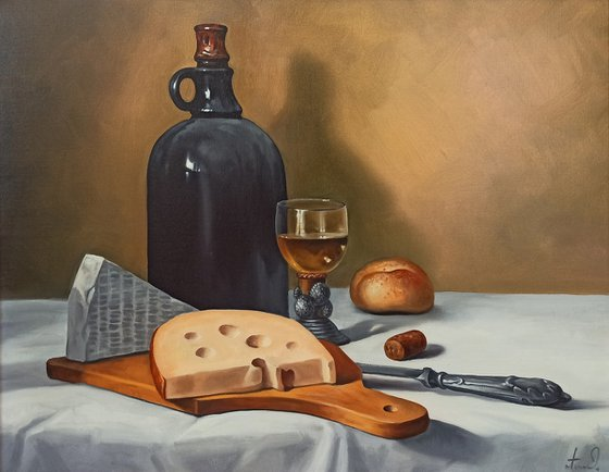 Still life with kitchen utensils-2 (40x50cm, oil painting, ready to hang)