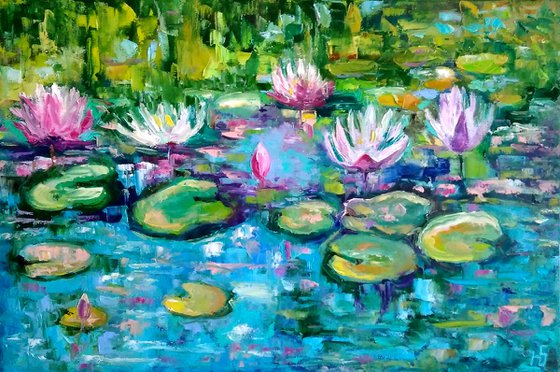 Nympheas, Water Lily Painting Original Art Monet Pond Landscape Artwork Floral Wall Art, 60x40 cm, ready to hang.