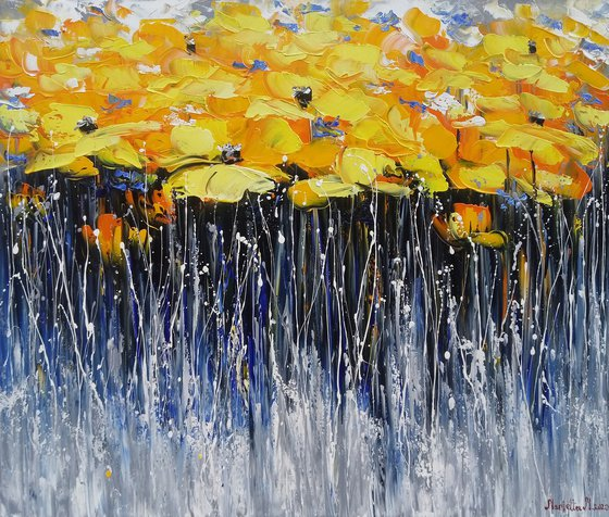 Field of yellow tulips, 70x80cm, oil painting, palette knife, ready to hang, colorful flowers, floral art