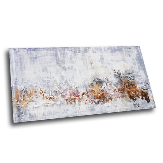 """WHITE WALL * 63"""" x 31.5"""" * ABSTRACT TEXTURED ARTWORK ON CANVAS * WHITE * GOLD"""