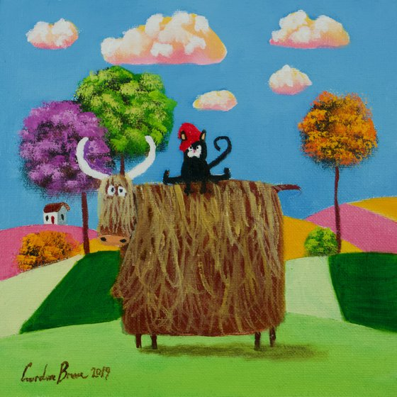 Cow and a cat folk art oil painting on panel