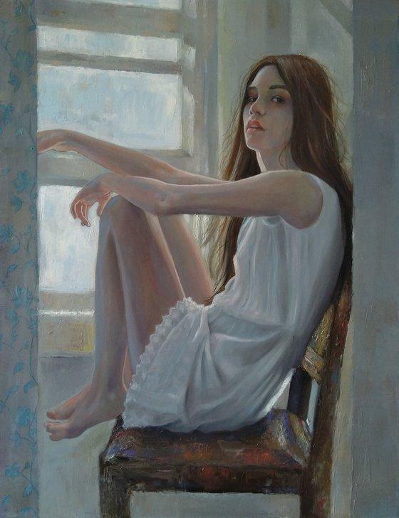 Quiet (50x65cm, oil/canvas, impressionistic figure)