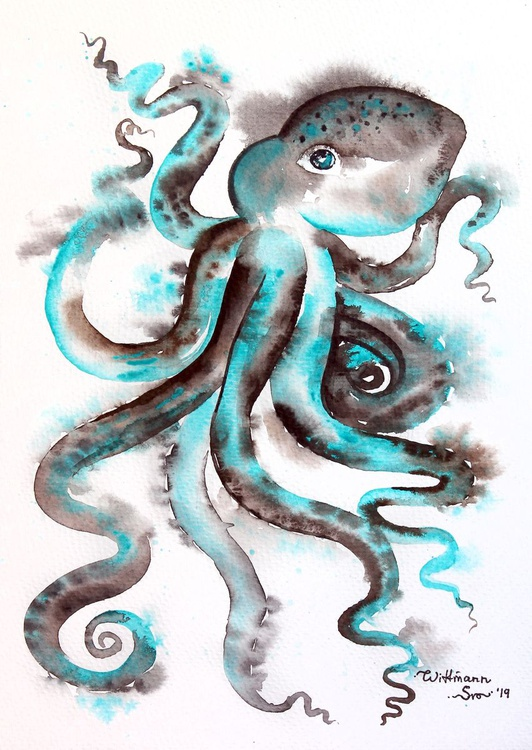 Octopus Watercolor Original