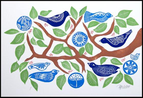 Birds on a Branch, linocut mono print