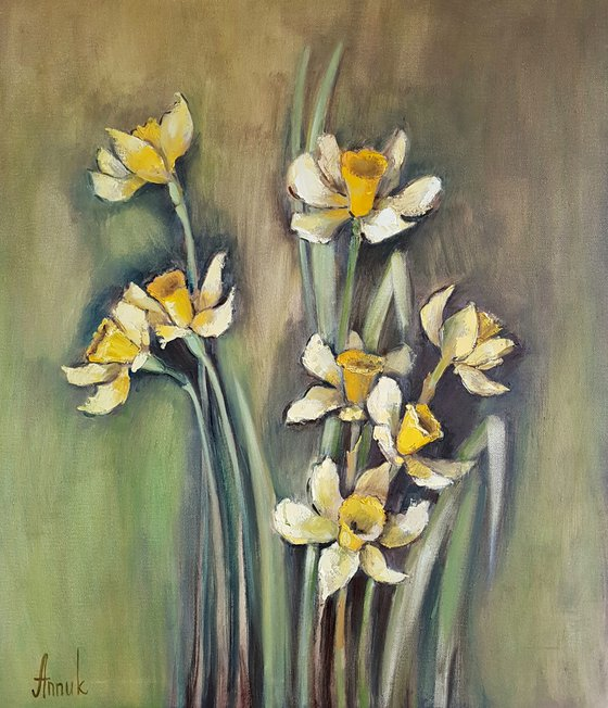 Daffodils (60x70cm, oil painting, ready to hang)