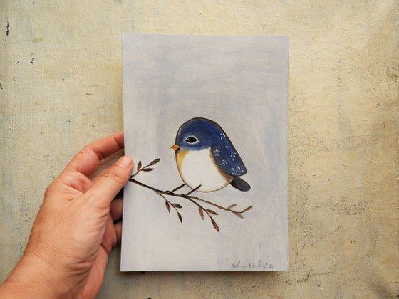 The blue bird #3 - oil on paper