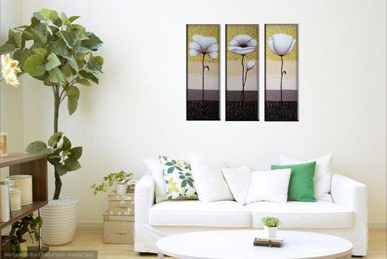Poppies (20x60 20x60 20x60, acrylic painting, triptych)