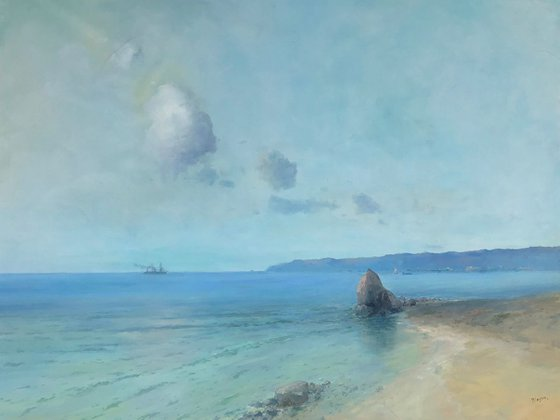 PacificCoast, Original oil Painting, Handmade artwork, Signed, One of a Kind