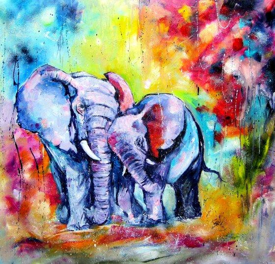 Elephant with baby -XL size /105 x 110 cm