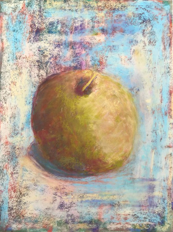 Original soft pastel drawing - One apple a day keeps the doctor away