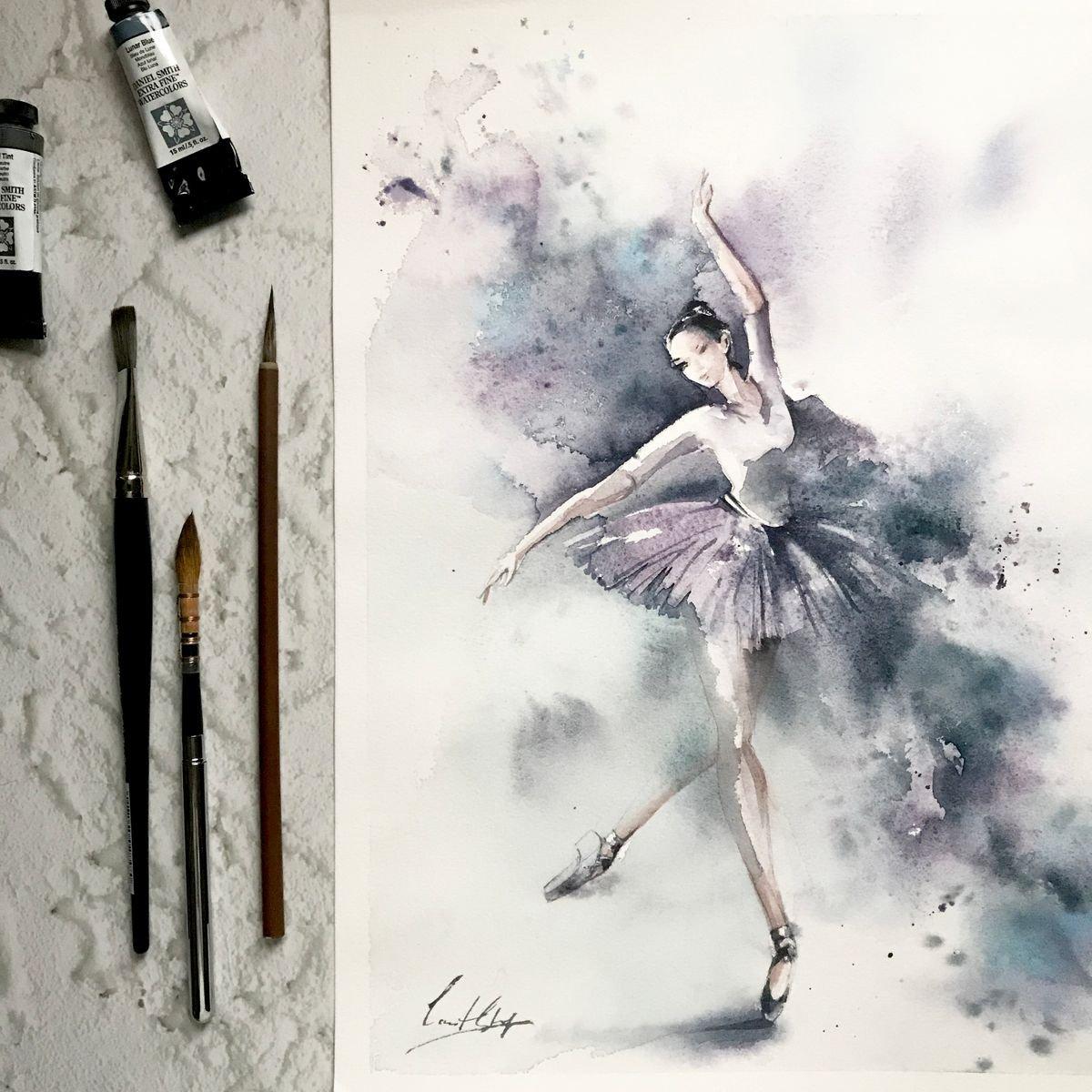 Спасибо, открытки балет акварелью