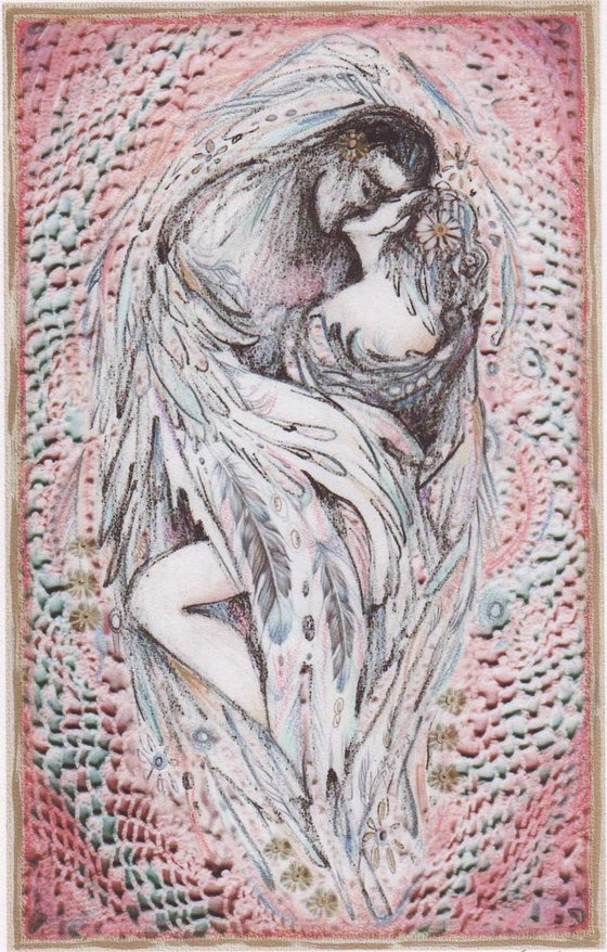 Angels Embrace limited edition print of two lovers kissing embracing romatic art digital giclee print