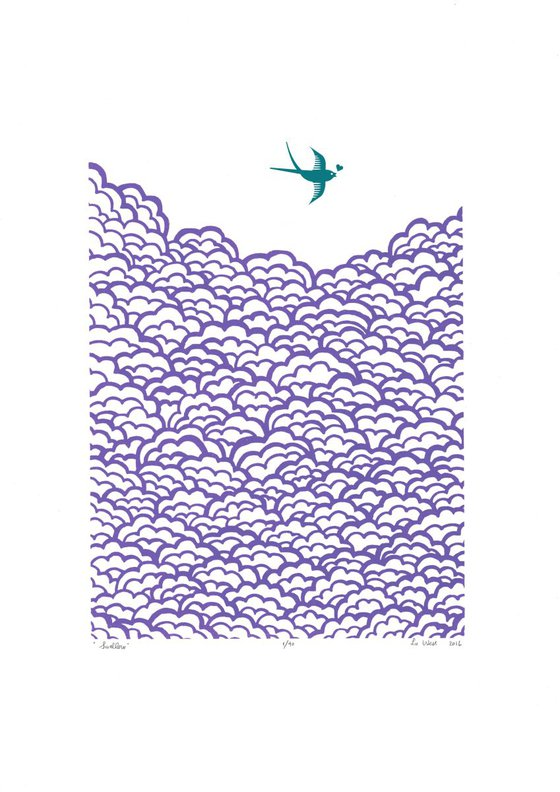 Swallow A3 size in amethyst and biscay bay - Unframed - FREE Worldwide Delivery