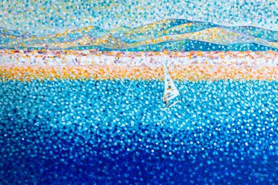 Altafulla, Spain - Mediterranean seascape with Sailboarder