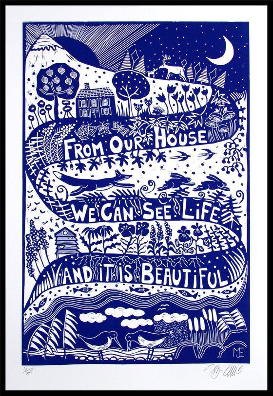 Life is beautiful, XL blue and white linocut