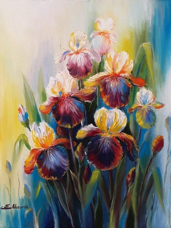 Iris oil painting