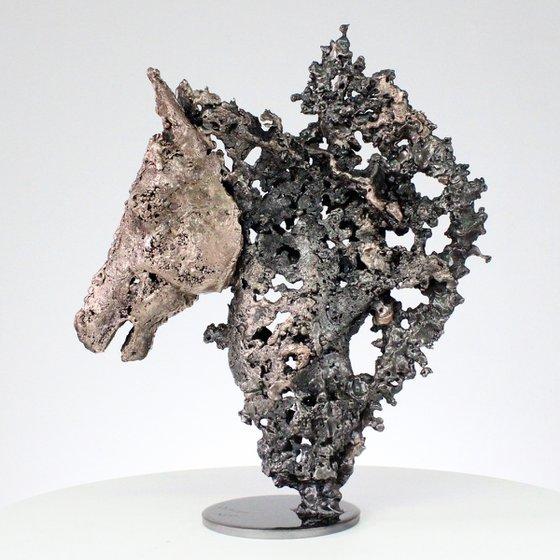 Horse Barbe 49-21 - metal animal sculpture steel horse head