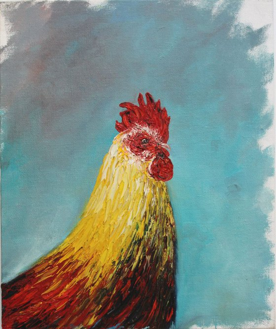 Mr.Rooster - Cock Painting - Oil painting on canvas board - textured art - Easter - special cockerel
