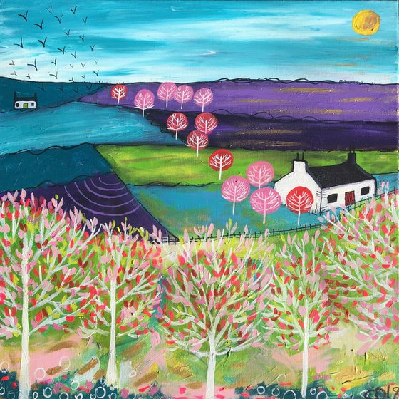 Shineshine and Pink Trees - Large Canvas 60cm Ready to hang