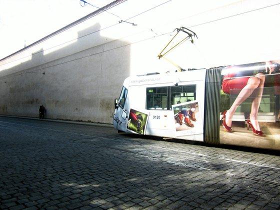 Tramski, modern city tram in Praque, Czech Republic