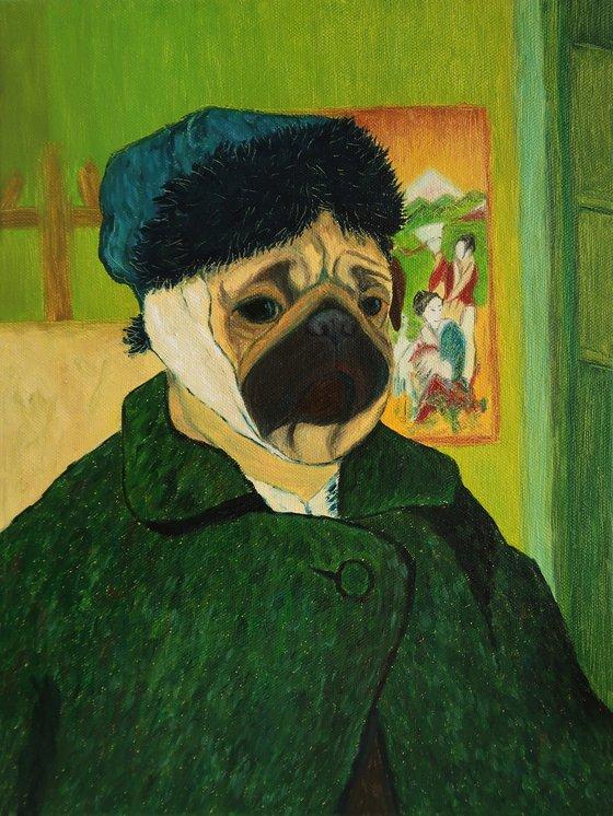 Van pug – Self-portrait with Bandaged Ear