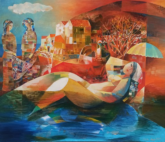 Fishing (60x70cm oil/canvas, ready to hsng)