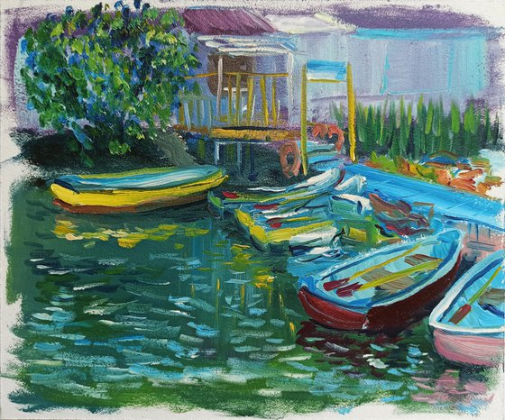 The boat station. Plein air painting