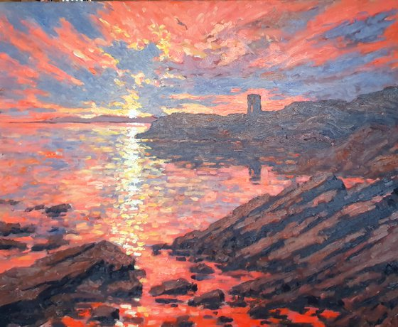 Sunset, at lady's tower, elie , fife