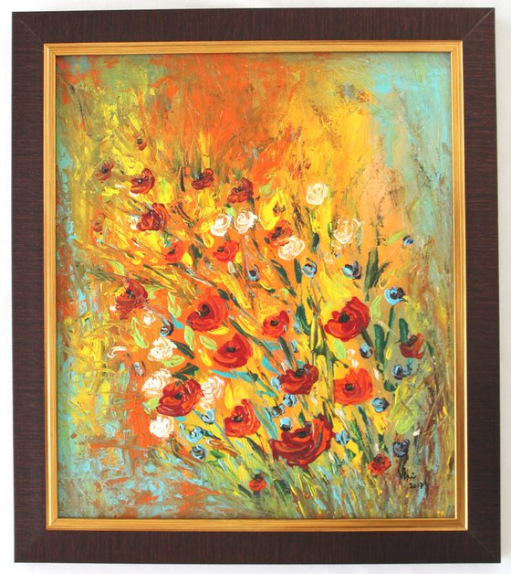 Peace, Happiness and colours - poppies flower bouquet, landscape Impressionistic Abstract Acrylic painting - framed