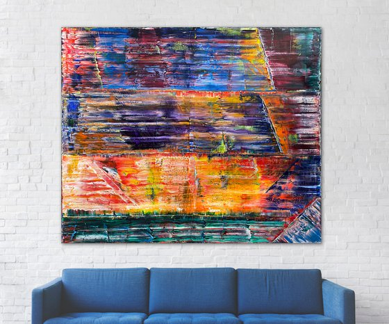"""""""Solarium"""" - Original Xt Large PMS Abstract Oil Painting On Canvas - 72 x 60 inches"""