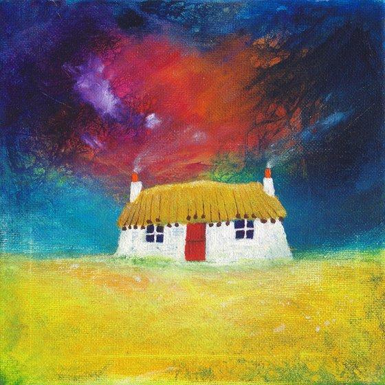 Highland Croft, traditional Hebridean thatched cottage