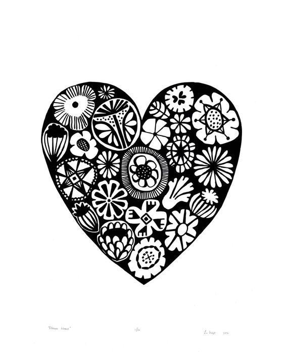 Flower Heart in Black - Unframed - FREE Worldwide Delivery