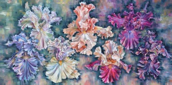 Irises big interior oil painting. Dark colors, violet, pink, blue, orange and beige.