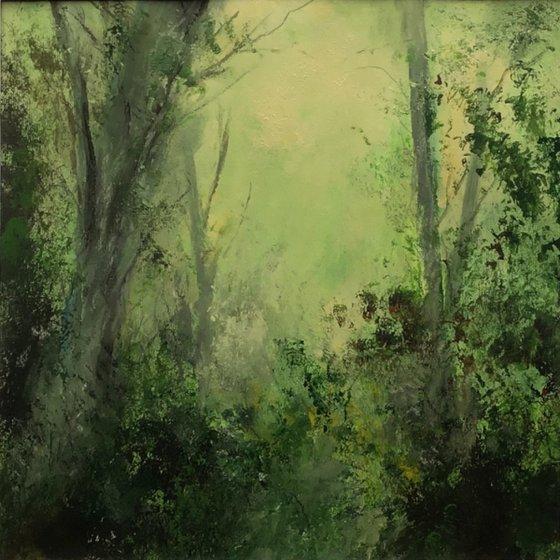 Summer Trees I - original, mounted painting