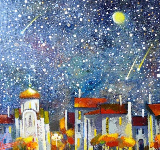 Night town. Starfall