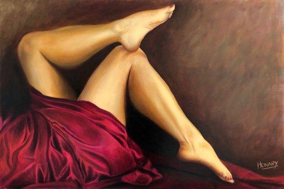 Legs Red Drapery