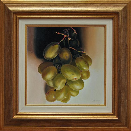 Still life with grapes , Original oil on canvas painting
