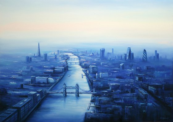 """London Skyline II, 39""""x28"""" - 100x70 cm, Large oil painting, Ready to hang"""
