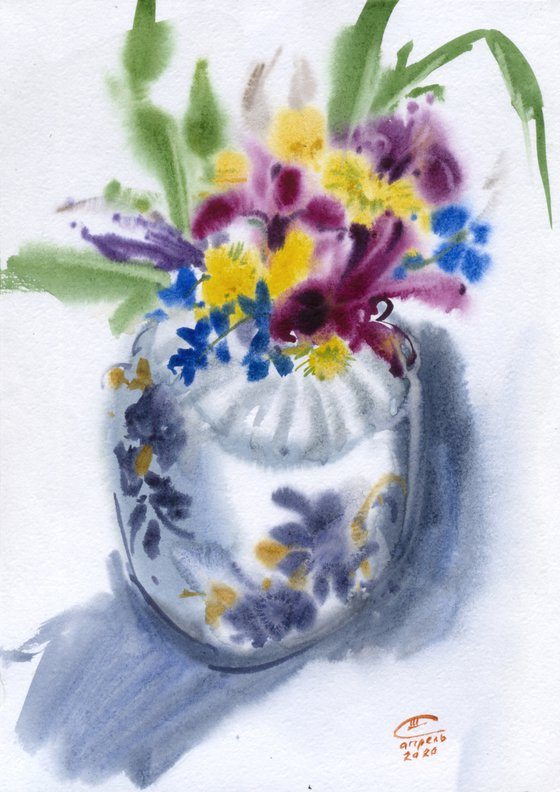 Still life with spring flowers.