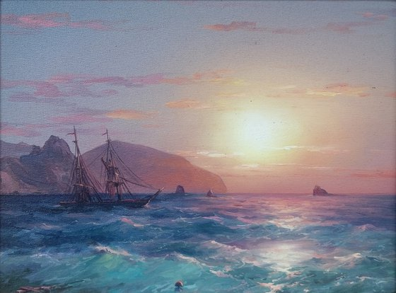 Inspired by Aivazovsky - Seascape(30x40cm, oil painting)