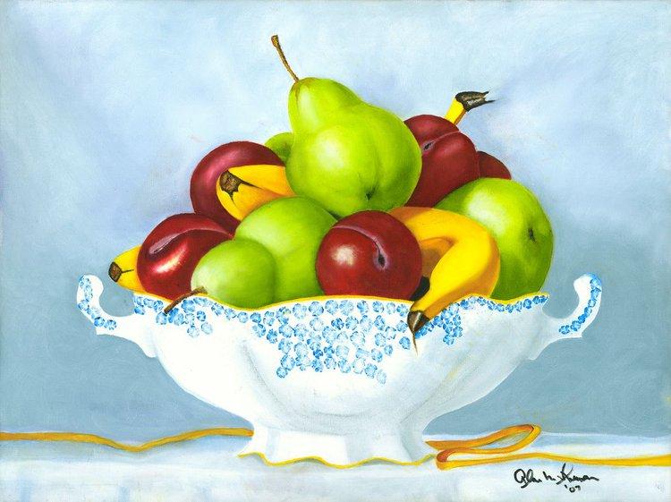 Fruit Bowl 2015 Oil Painting By Alan Shuman Artfinder